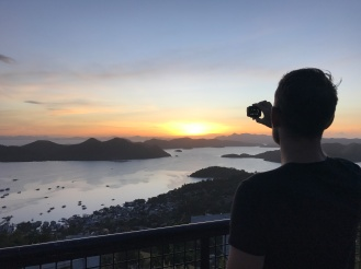 Sun setting over Coron