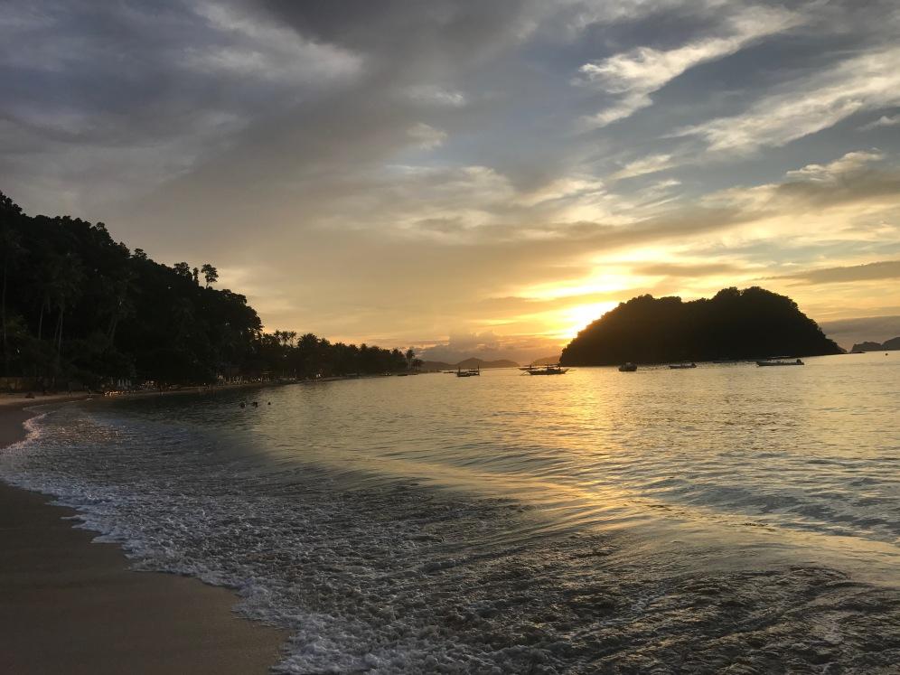 sunset, las cabanas beach, el nido